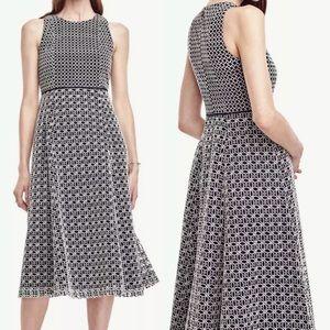 Ann Taylor Double Eyelet Midi Dress 6 S